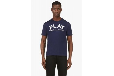 Comme Des Garons Play Navy Play Logo T shirt