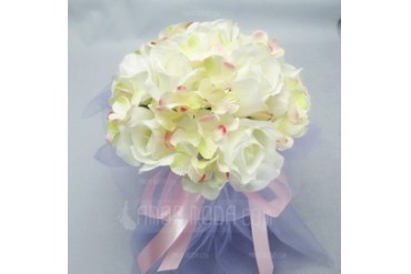 Pretty Round Satin/Cotton Bridal Bouquets (123031452)