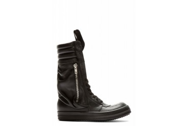 Rick Owens Black Leather Cargobasket Sneaker Boots
