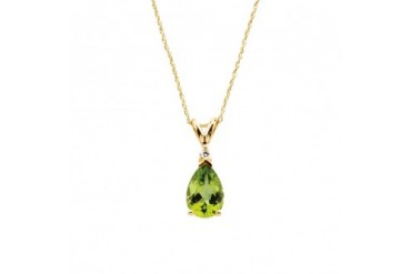 Peridot Teardrop and Diamond Necklace in 14K Yellow Gold, 18 Inch