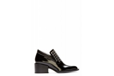 Jil Sander Black Eyelet Accent Lanika Heeled Loafers