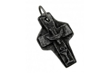 Solid Pewter Confirmation Cross Pendant Talisman Catholic