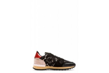 Valentino Black And Pink Lace Sneakers