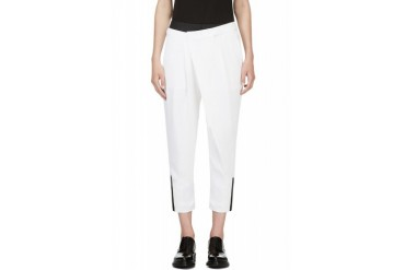 Helmut Lang White And Black Crpe Cropped Origami Trousers