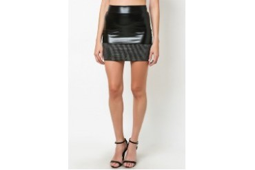 Stud Band Leather Jersey Skirt