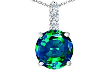 Star K 12mm Simulated Emerald Pendant