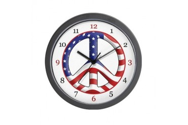 Patriotic Peace Flag Wall Clock by CafePress