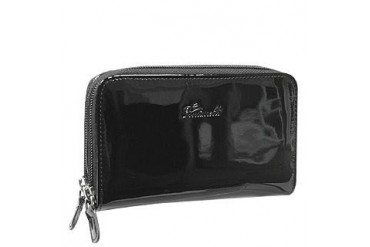 Black Patent Leather Zip Wallet