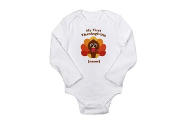 Custom First Thanksgiving Long Sleeve Infant Bodys