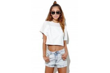 Womens Motel Rocks Tees & Tanks - Motel Rocks Sierra Perforated Top