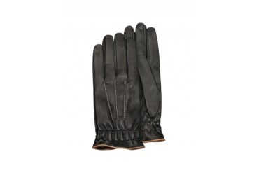 Men's Black Cashmere Lined Calf Leather Gloves