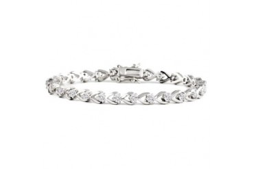 Heart Shaped Cubic Zirconia Tennis Bracelet