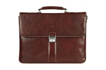 Dark Brown Double Gusset Leather Briefcase