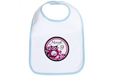 Tree Owl Milestone Month 9 Family Bib by CafePress