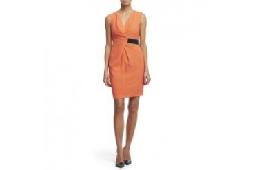 Sleeveless Pebble Crepe Belted Dress