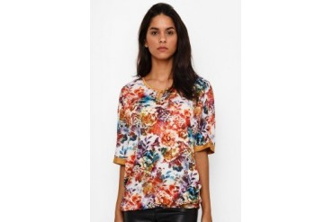 Triset Ladies Short Sleeve Flower Print Blouse