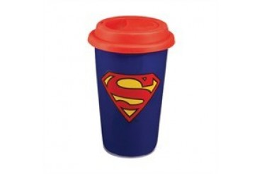 DC Comics Superman Shield Logo 12 Ounce Double Walled Insulated Ceramic Travel Mug