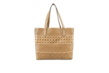 Faux Nappa Leather Cut Out Tote