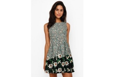 Chic Simple Daisy Print Pleated Dress