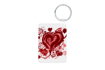 Pink and red hearts Love Aluminum Photo Keychain by CafePress