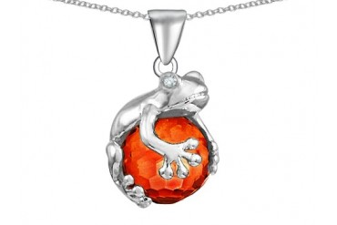Star K Frog Pendant 10mm Simulated Orange Mexican Fire Opal Ball