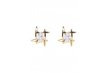 Saturation Cut Out Square Wrap Rhinestone Ear Studs