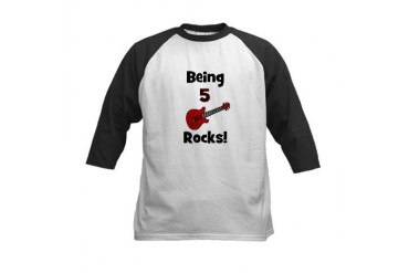 Being 5 Rocks! Guitar Kids Baseball Jersey