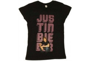 Justin Bieber Stacked Name Photo Youth T-Shirt