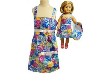 Matching Girls Dolls Multi Color Flower Sundress Size 5