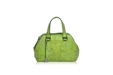 Pigalle Lime Green Lizard Embossed Leather Tote