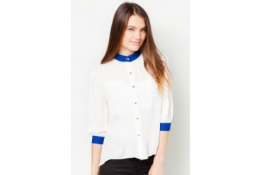 TLA Solid Collar Cardigan Chiffon Top