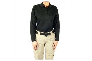 Women's 24-7 Long Sleeve Polos - Polo Shirt 24-7 Ladies Blk Ls Lr