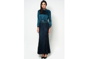 Zalia Embellished High Collared Lace Maxi Dress
