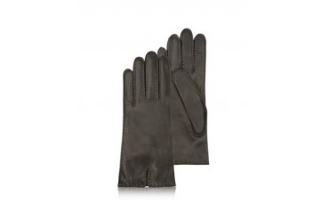 Women's Cashmere Lined Dark Brown Italian Leather Gloves