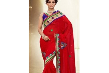 Gorgeous Red Appliqued Chiffon Saree