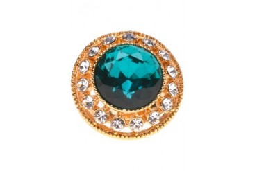 Studded Emerald Gold Ring