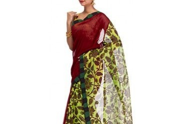 Dainty Look Red Cotton Saree