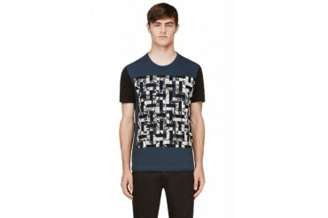 Maison Martin Margiela Blue And Black Colorblocked Patchwork T shirt