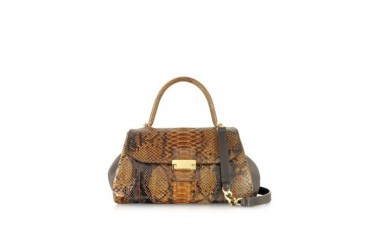 Brown Python and Leather Satchel Bag