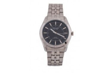 Omax AS0049S/S-Black Dial Alloy Silver Strap Watch