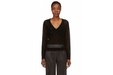 Rag And Bone Black Open knit Connie Sweater