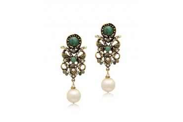 Golden Brass Glass Pearl and Emerald Earrings