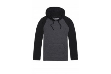 Mens Rvca Long Sleeve Shirts - Rvca Castro Pullover Hooded Shirt