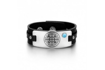 Fortune Wealth Success Circle Turquoise Black Leather Bracelet