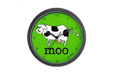 Moo the Cow Cute Wall Clock by CafePress