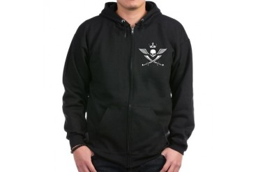 wings skull crown saber pirate Skull Zip Hoodie dark by CafePress