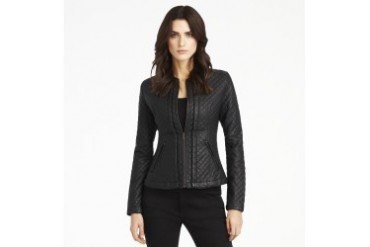 Quilted Collarless Moto Jacket