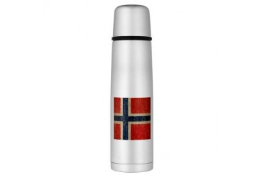 Vintage Norway Flag Large Thermos Bottle Vintage Large Thermosreg; Bottle by CafePress