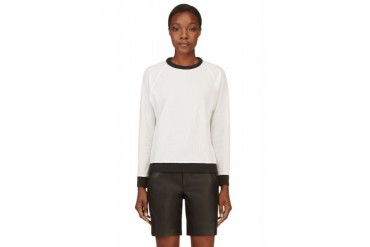 Rag And Bone White Mesh Classic Racer Sweater