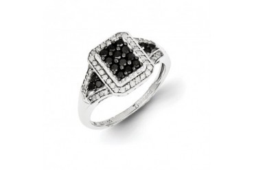 1 2 Ctw Black amp White Diamond Octagon Ring in Sterling Silver